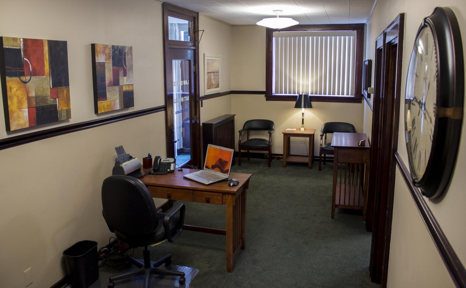 Photo, attorney's office interior, reception area